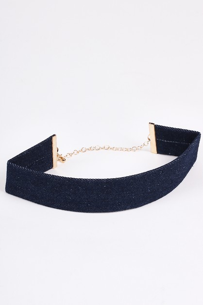 Dark Denim Strap Choker Necklaces - orangeshine.com