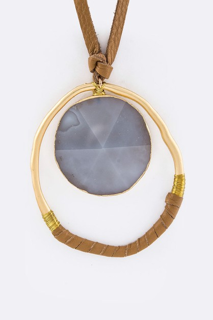 Round Stone Metal Hoop Necklace - orangeshine.com