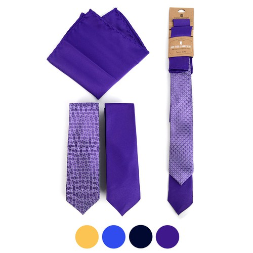 Geometric Two Skinny Ties Hanky Set  - orangeshine.com