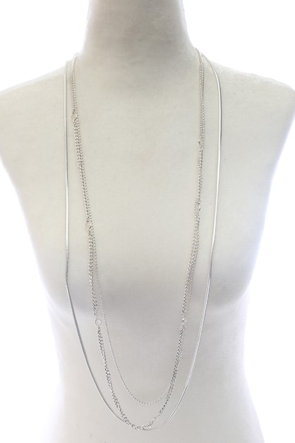3 LAYERED CHAIN NECKLACE  - orangeshine.com