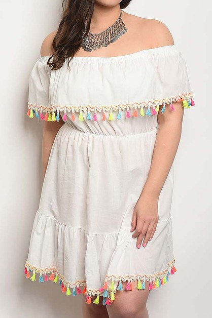 OFF SHOULDER MULTI TASSEL TRIM DRESS - orangeshine.com