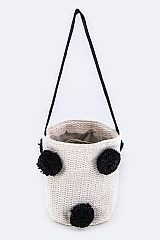 PomPom Straw Bucket Bag - orangeshine.com