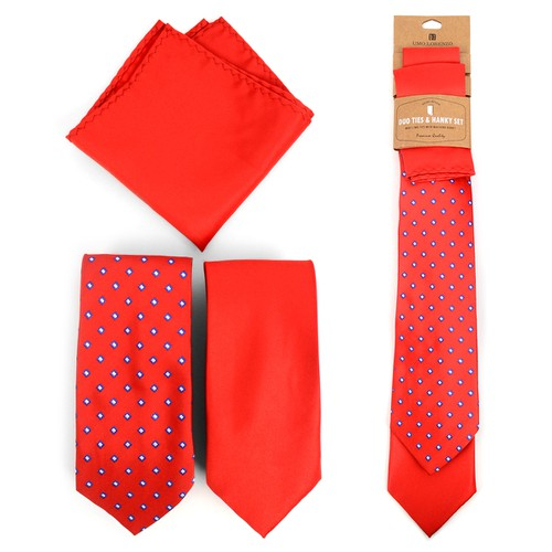 Dots Red Two Ties and Hanky Set  - orangeshine.com