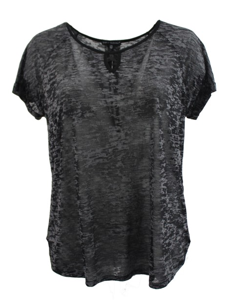 Plus Size Black Burnout Tee - orangeshine.com