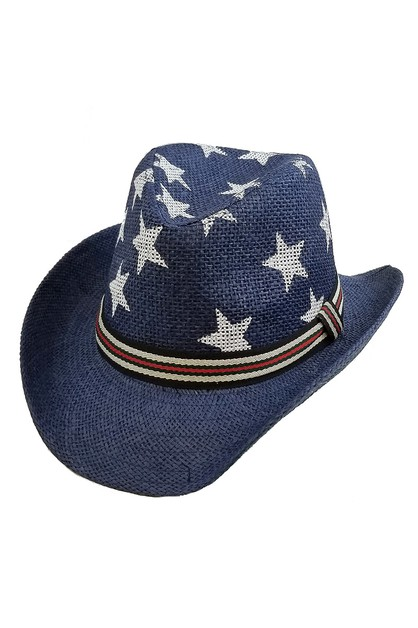 Star Print Straw Hat - orangeshine.com