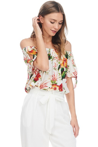 FLORAL PRINT OFF THE SHOULDER TOP - orangeshine.com