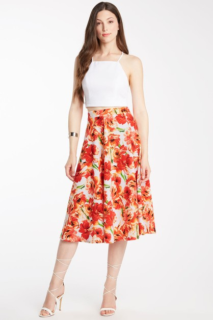 Printed Midi Circle Skirt Orange - orangeshine.com