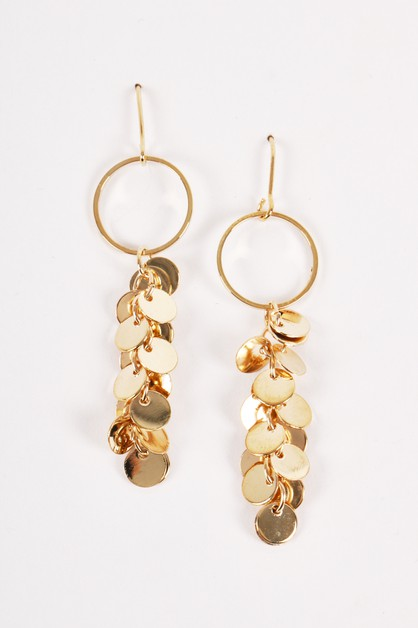 Dangling Coin Disks Fringed Earrings - orangeshine.com
