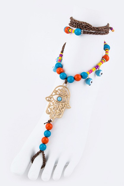 Hamsa Evil Eye Beads Anklet - orangeshine.com