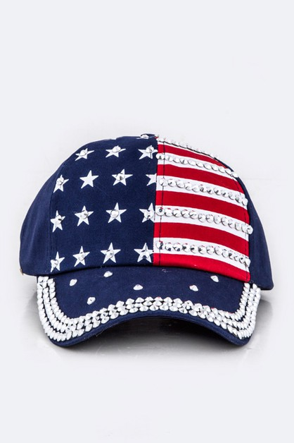 Crystal Embellished US Flag Cap - orangeshine.com