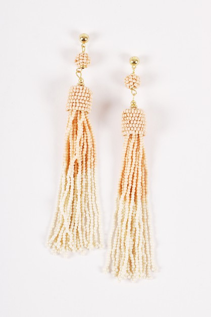 Pastel Tone Beaded Fringe Earrings - orangeshine.com