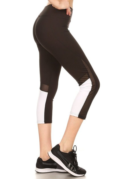 Color Block and Mesh Capri leggings - orangeshine.com