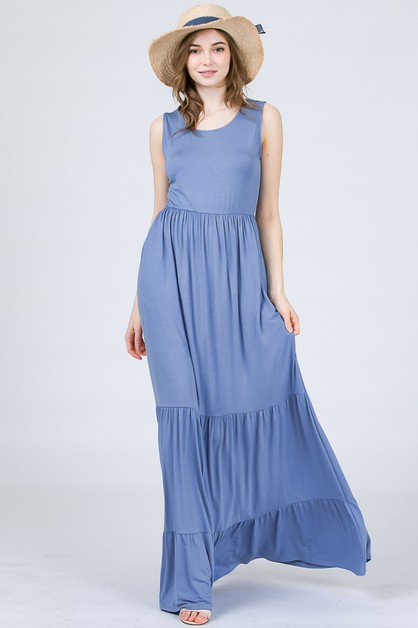 BOTTOM RUFFLED MAXI DRESS  - orangeshine.com