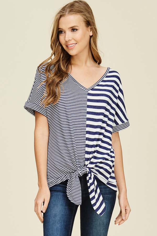 Contrast Striped V-Neck Top - orangeshine.com