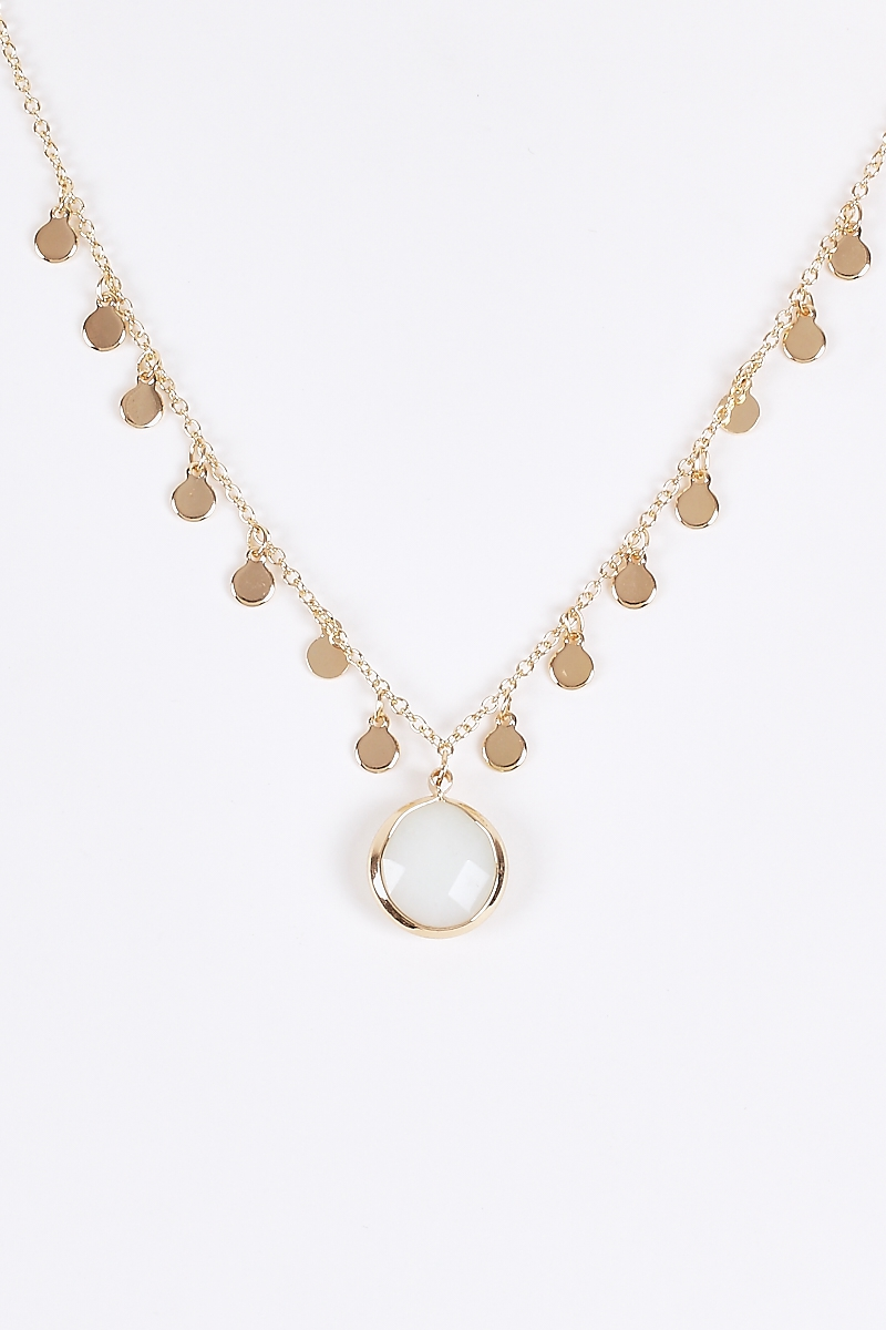 Coin Disks Crystal Gemstone Necklace - orangeshine.com