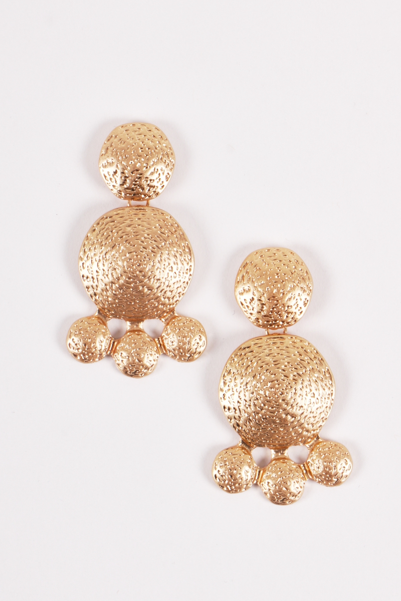 Dimple Texture Gongs Dangle Earrings - orangeshine.com