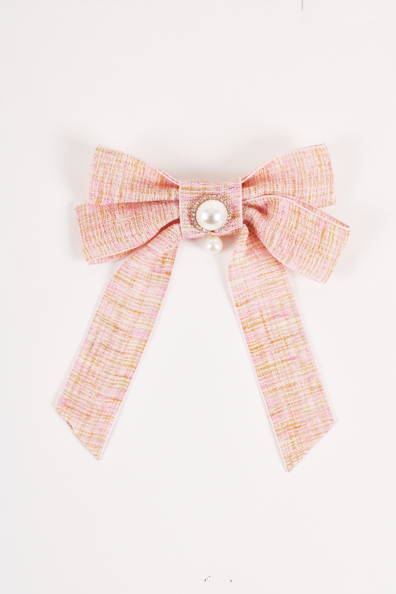 Faux Pearl Brooch Neck Pin Bow Tie - orangeshine.com