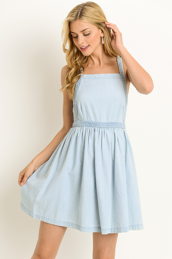 Chambray Braided Dress - orangeshine.com