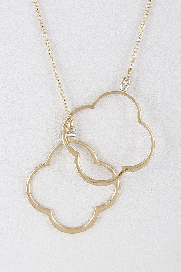 Two Linked Clover Metallic Necklace  - orangeshine.com