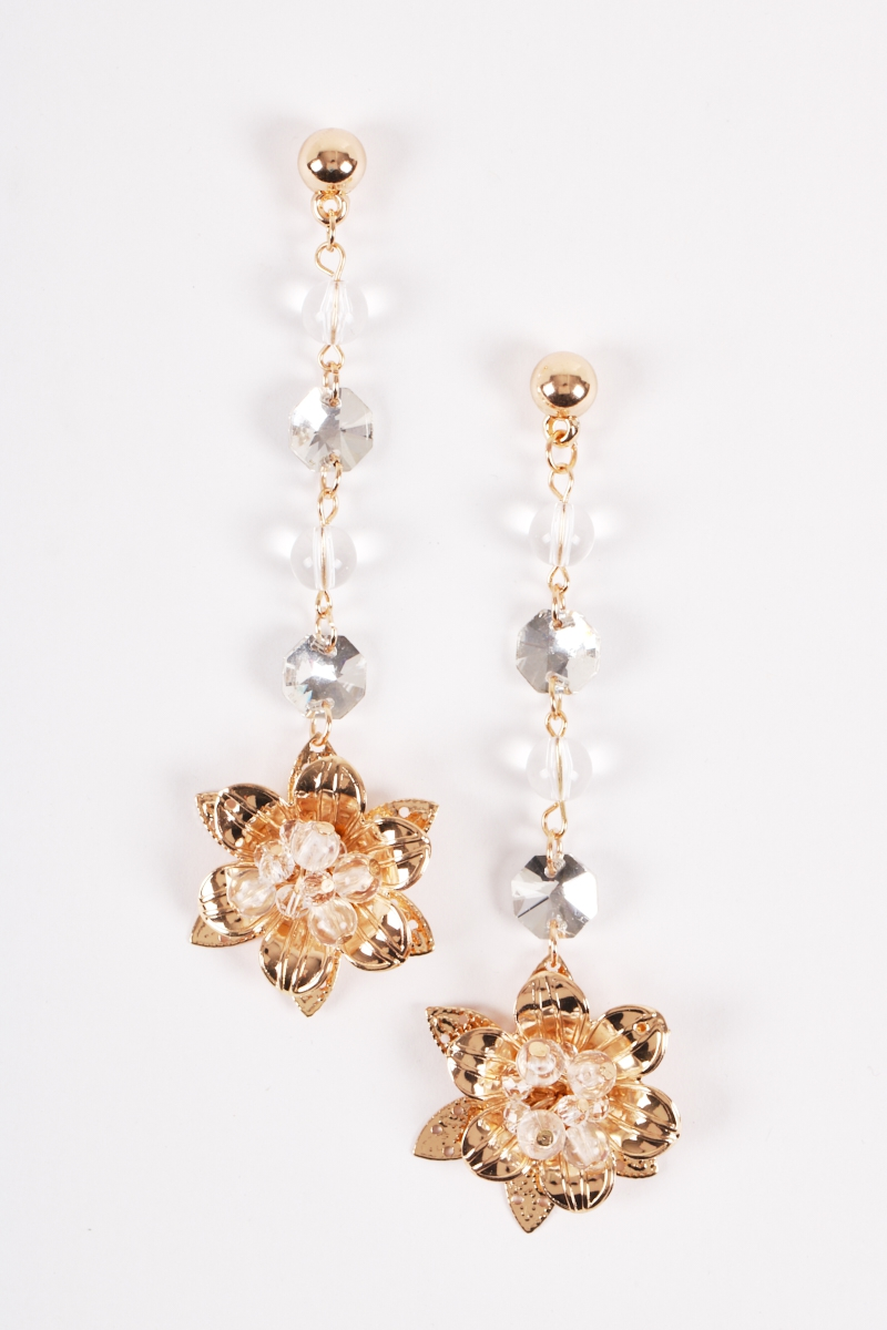 Flowers Crystals Dangling Earrings - orangeshine.com