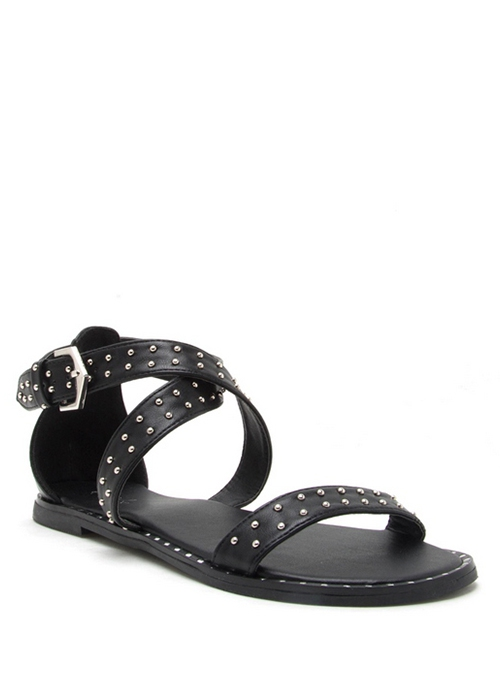STUDDED CRISS CROSS FLAT SANDAL WITH - orangeshine.com