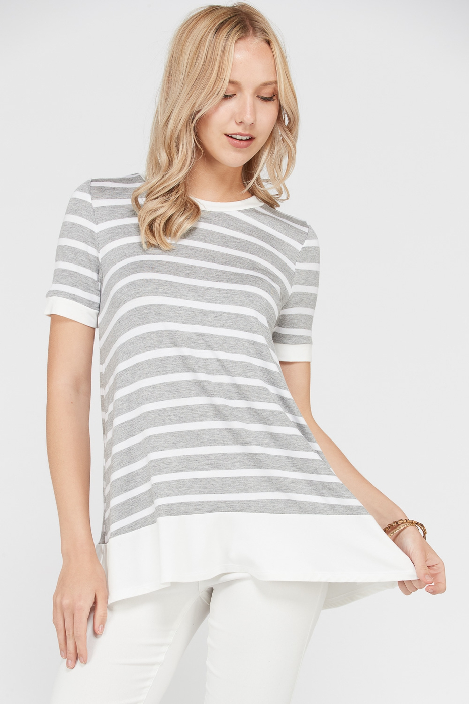 Stripe Tunic Short Sleeve - orangeshine.com