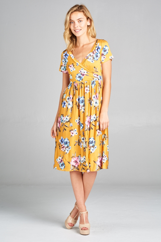 SHORT SL SURPLUS FLORAL PRINT DRESS - orangeshine.com