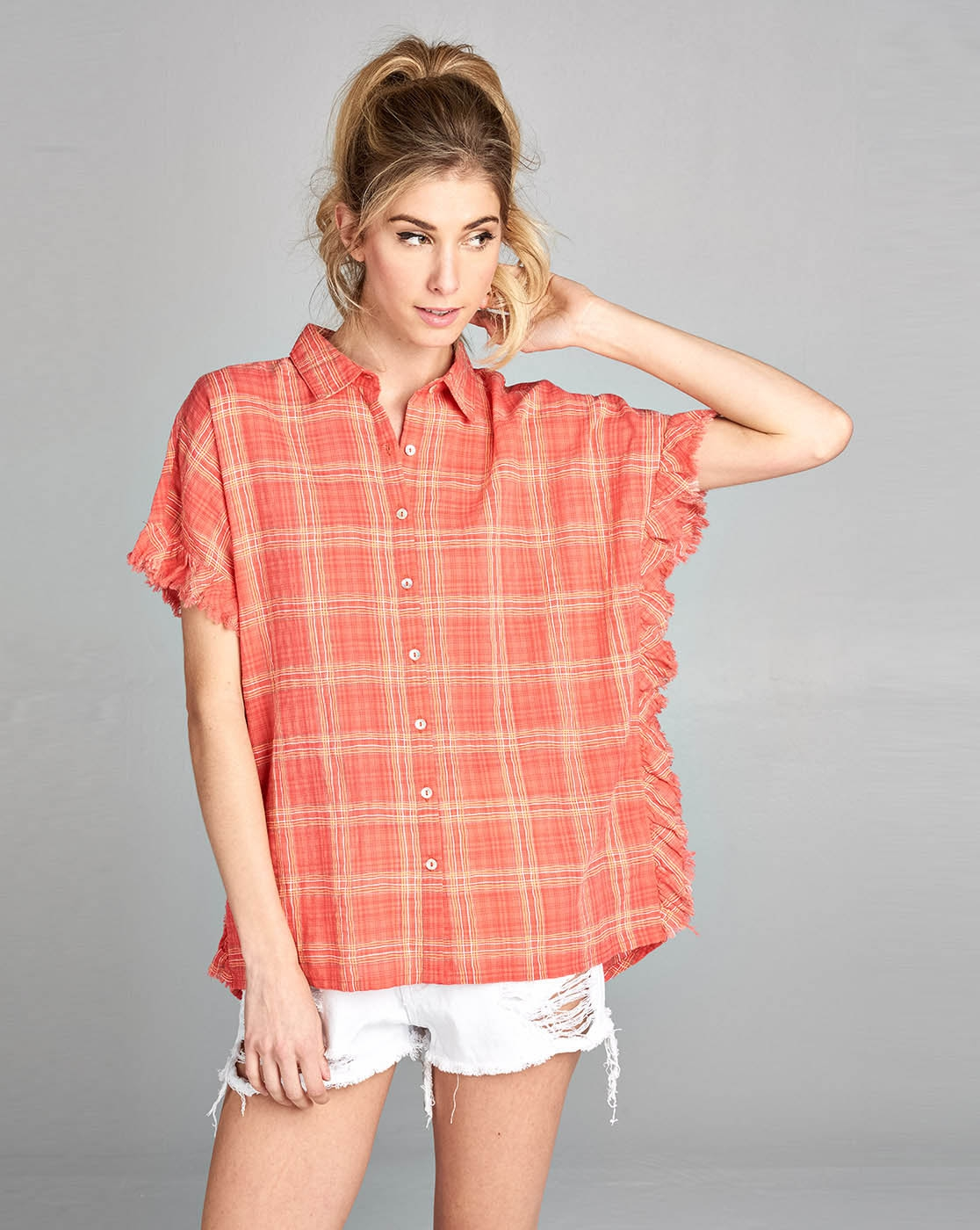 Discharge ruffle sleeve Plaid shirt  - orangeshine.com