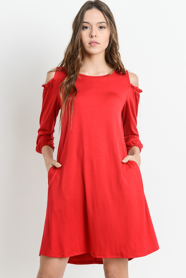 C0LD SHOULDER SOLID DRESS - orangeshine.com
