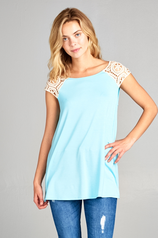 SOLID AND LACE PATCH SLEEVE TANK TOP - orangeshine.com