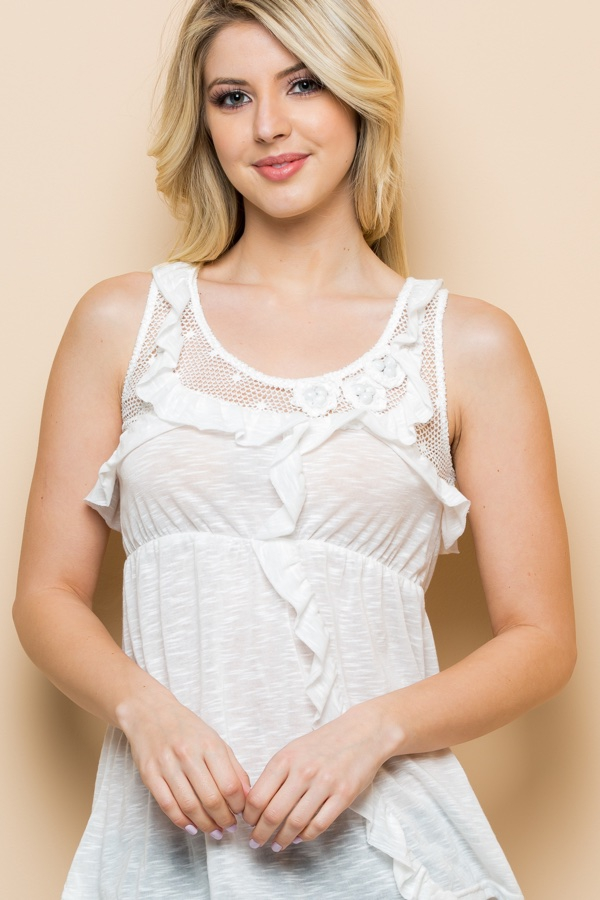 Ruffle and Lace Tank - orangeshine.com