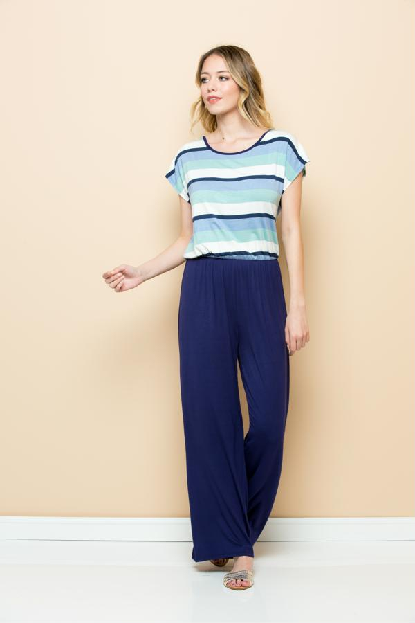 Solid Striped Jumpsuit - orangeshine.com