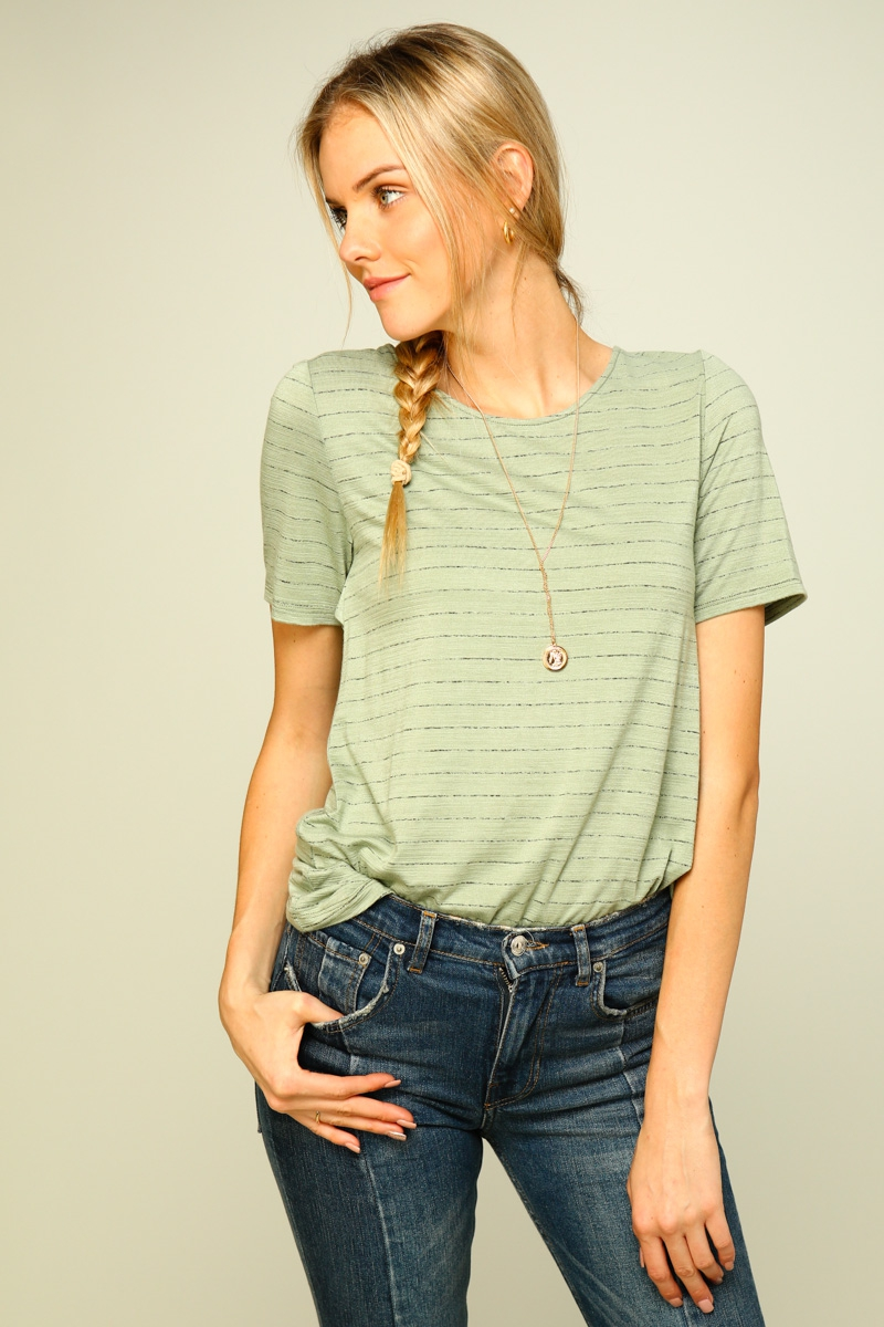 Short sleeve striped top  - orangeshine.com