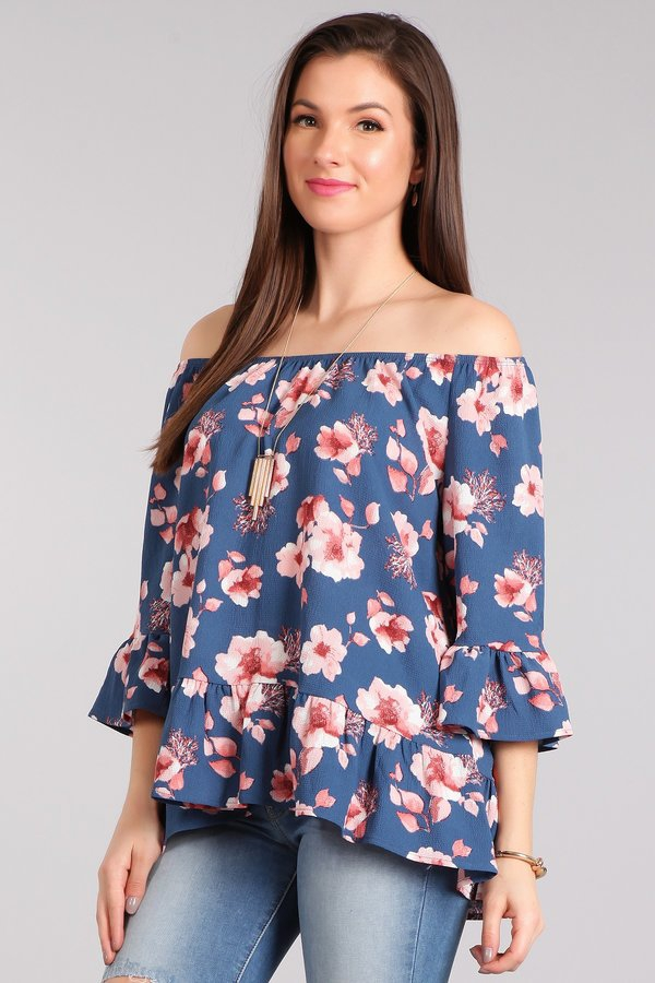 WOVEN FLORAL OFF SHOULDER TOP - orangeshine.com