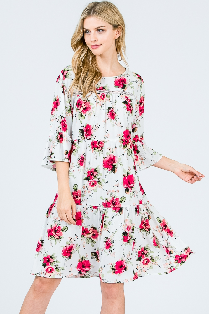 FLORAL LOOSE FIT LAYER RUFFLE DRESS - orangeshine.com