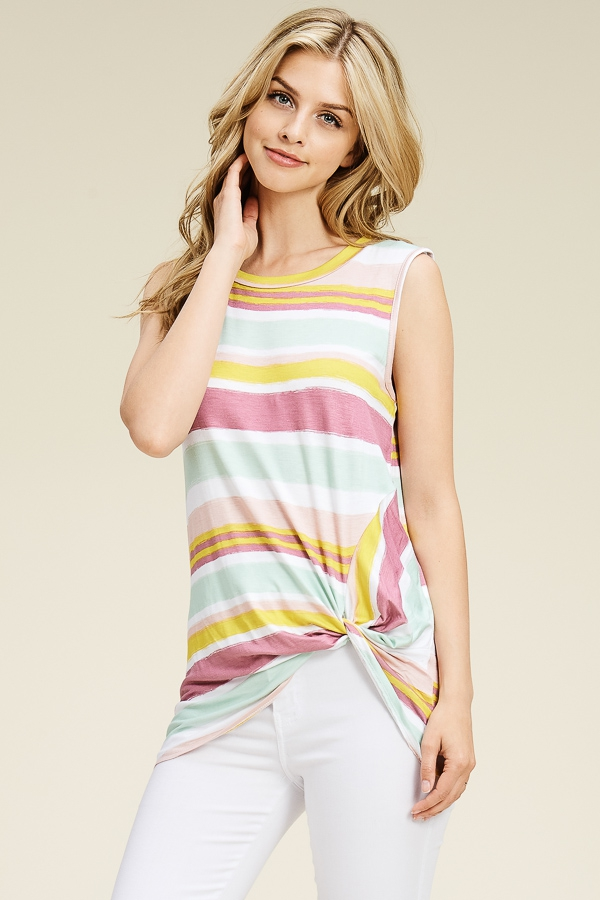 MULTI STRIPED SIDE KNOT HEM TOP - orangeshine.com