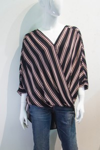 STRIPE OVERLAP HIGH-LOW WOVEN TOP - orangeshine.com