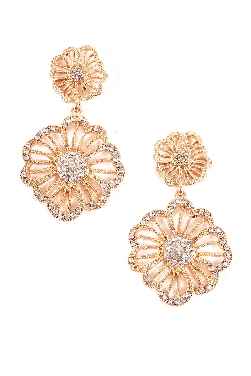 Embellished Floral Dangle Earrings - orangeshine.com