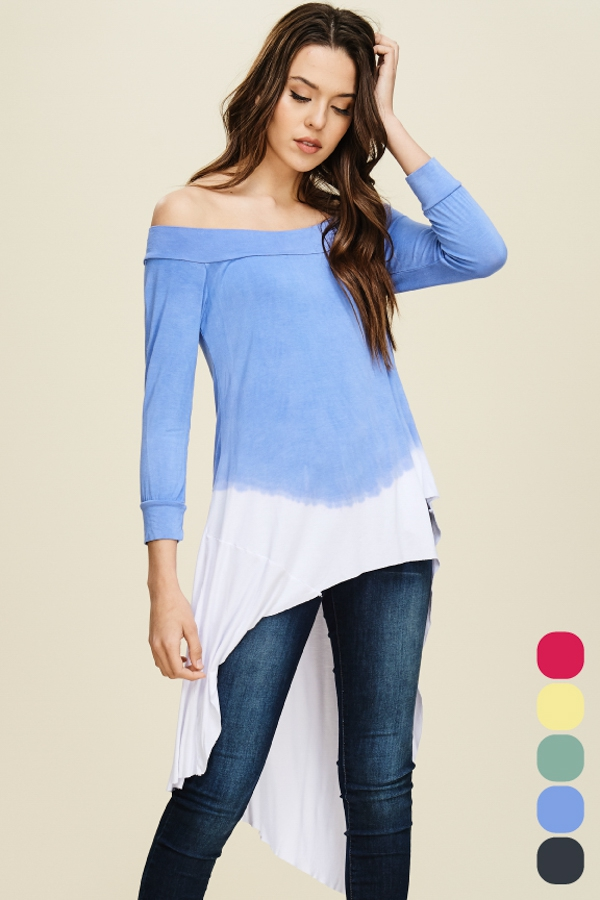 Ombre Garment Dye Off Shoulder Top - orangeshine.com