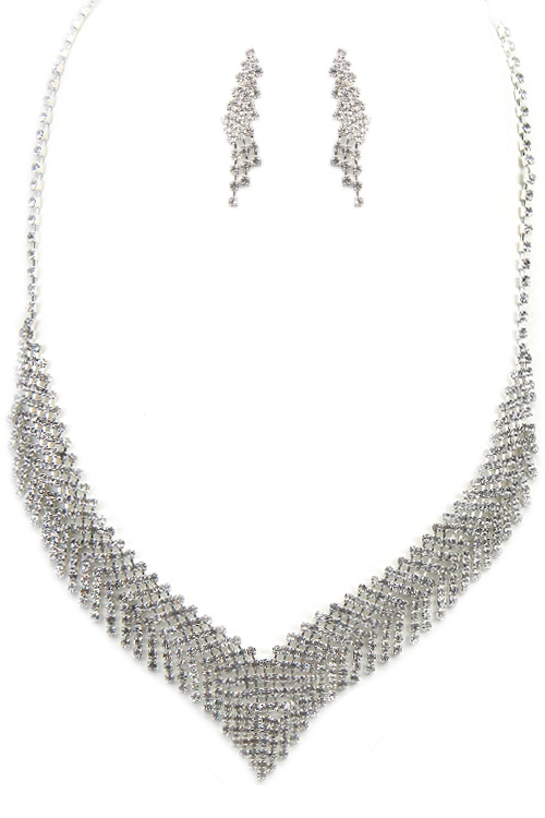 Rhinestone Necklace Set  - orangeshine.com