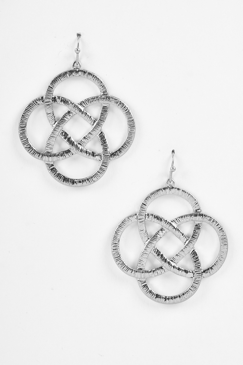 Textured Brushed Off Locked Earrings - orangeshine.com