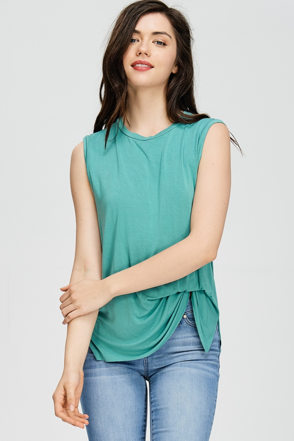 GARMENT DYED CINCHED LAYERED TANK - orangeshine.com