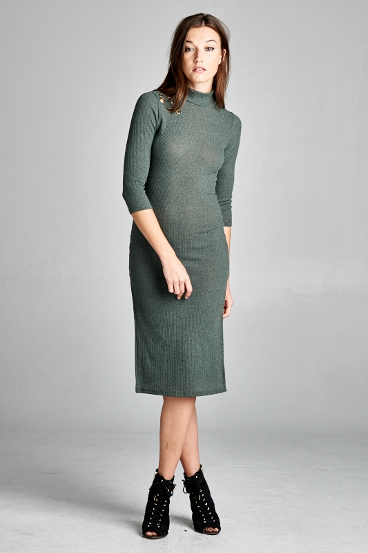 sleeve knitted turtle neck dress - orangeshine.com