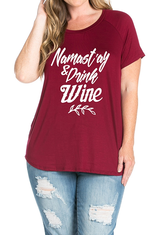 DRINK WINE GRAPHIC PLUS RAGLAN TOP - orangeshine.com