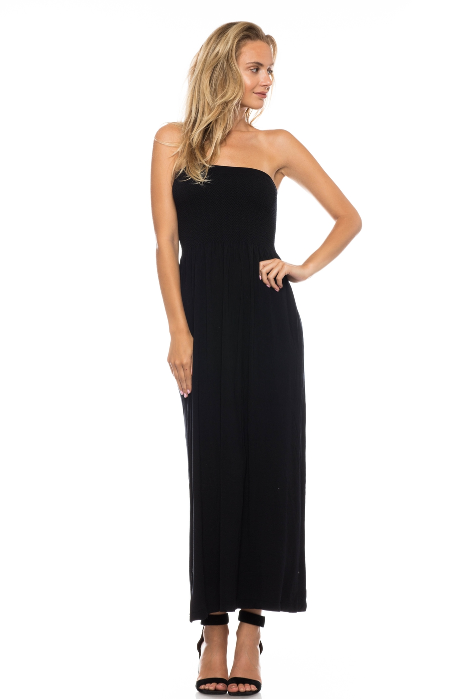 SMOCKED MAXI TUBE DRESS - orangeshine.com