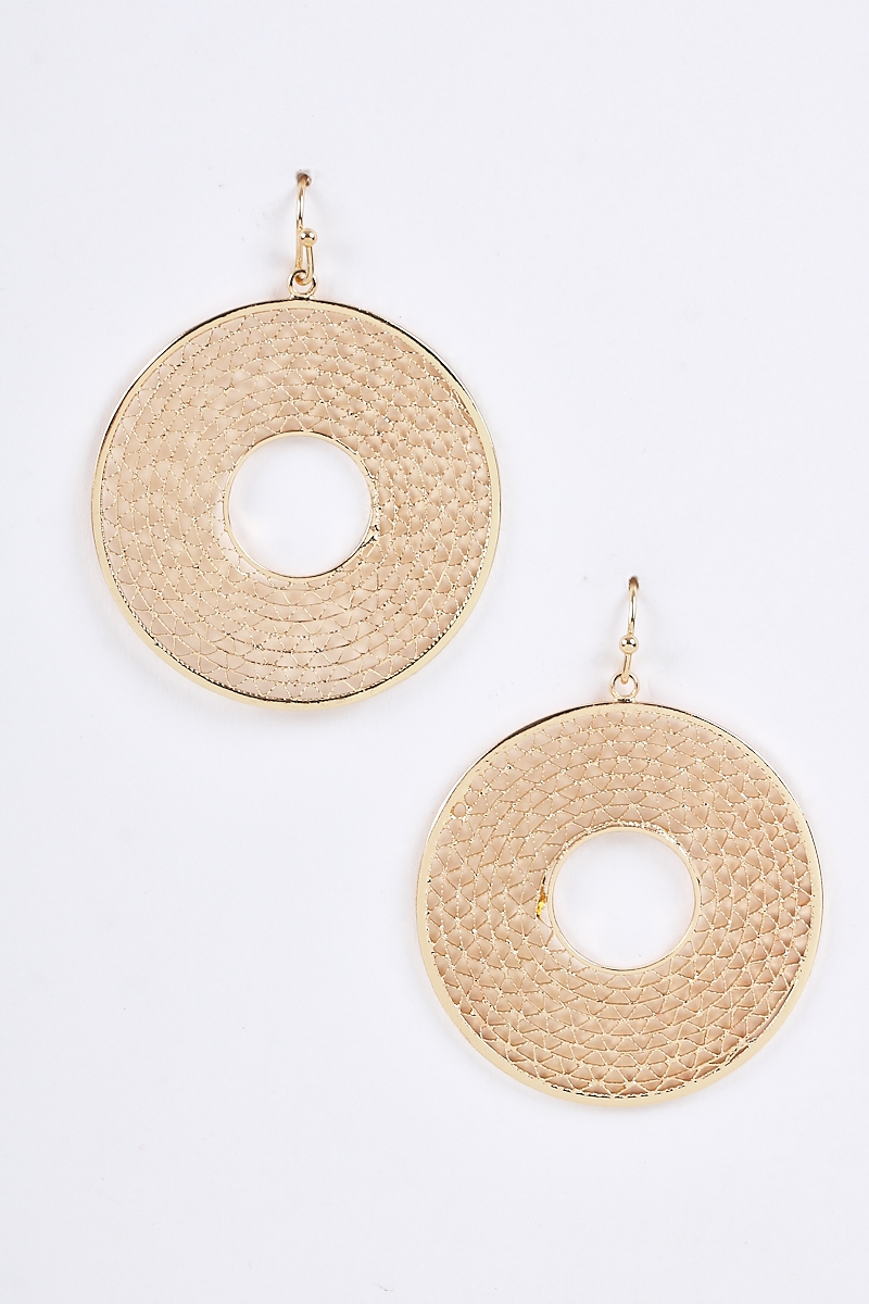 Hollow Center Zig Zag Round Earrings - orangeshine.com