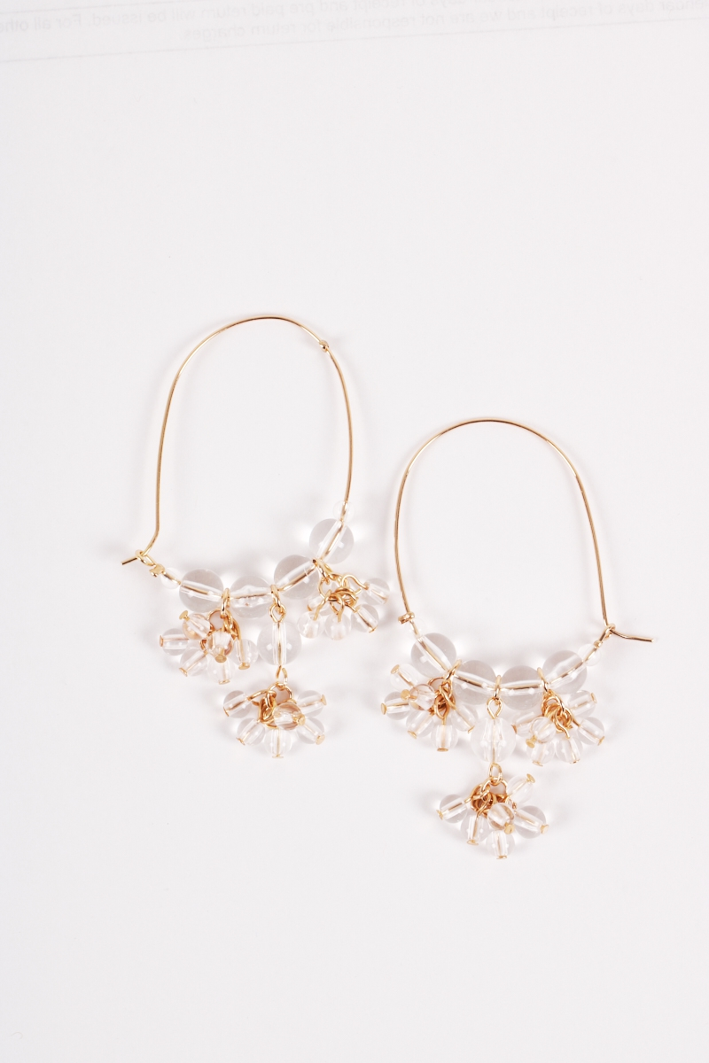 Crystals Pearls Cluster Drop Earring - orangeshine.com