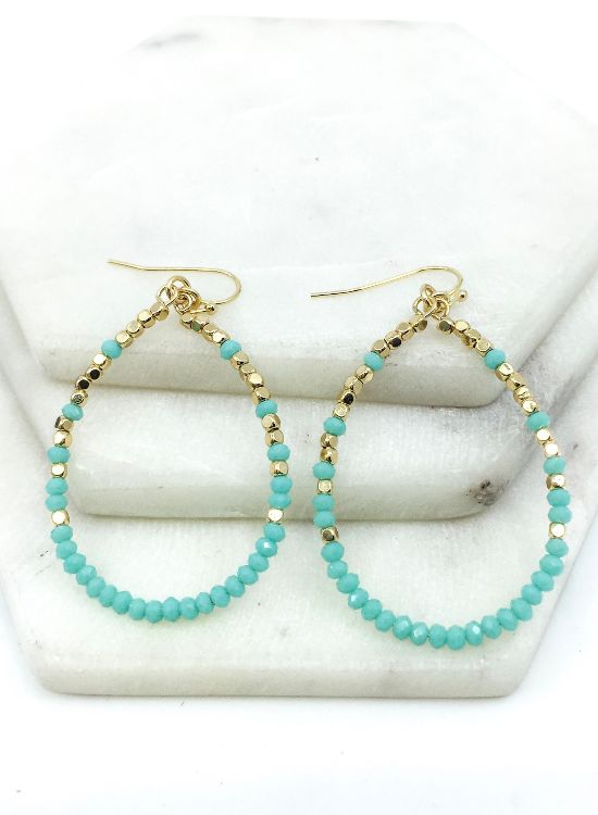 Glass and gold nugget hoops - orangeshine.com
