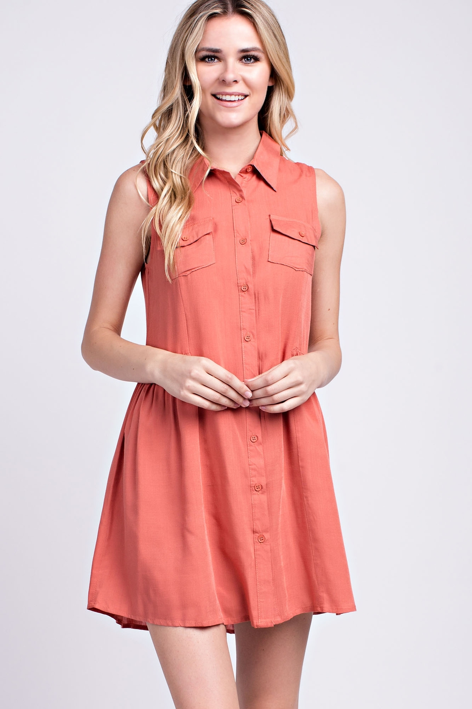 POCKET-FRONT SHIRT DRESS - orangeshine.com