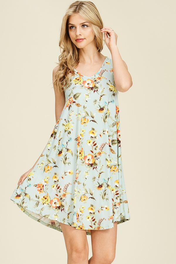 FLORAL V-NECK SLEEVELESS SWING DRESS - orangeshine.com